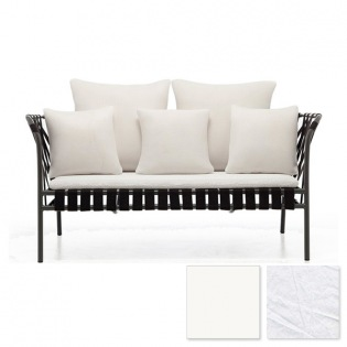 Gervasoni INOUT 852 2-Sitzer Sofa, Schwarz-Weiß