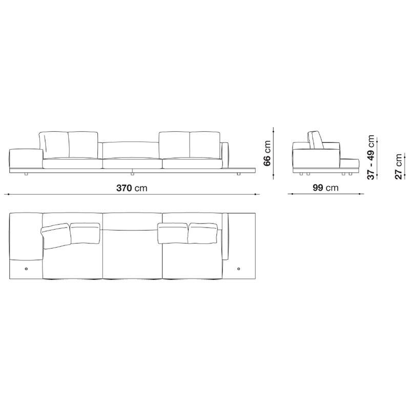 B&B Italia DOCK Sofa 370 cm, Holzgestell on